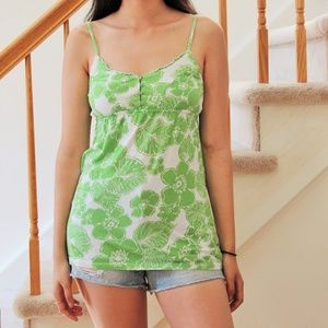 Green Flower Pattern Tank